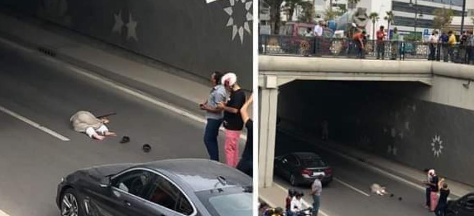 مدينة طنجة إنتحار  سيدة ترمي نفسها من علو  النفق تحت أرضي قرب محطة القطار