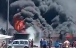 خسائر مادية خلفها  حريق مهول بسوق الطماطم ايت ملول